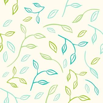 Grünes vektormuster für öko-logo oder -zeichen. veganer hintergrund für café, restaurants, verpackung. handgezeichnete blätter, pflanzenelemente. organische designvorlage.