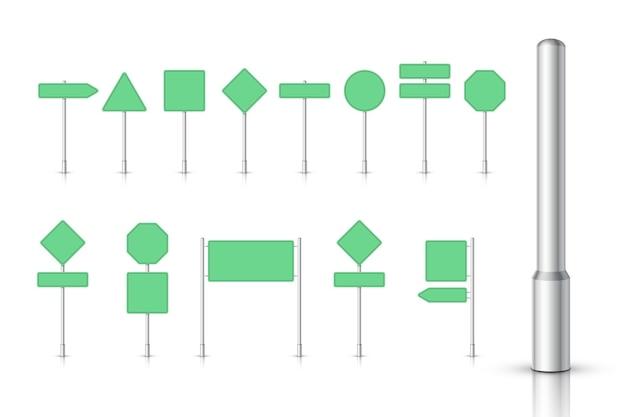 Grünes verkehrszeichen auf weißem hintergrund. wegweiser. leeres brett mit platz für text. richtung.