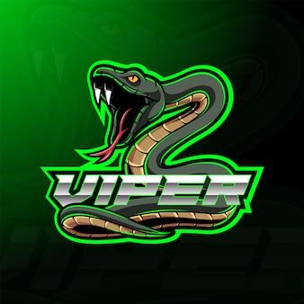 Grünes viper-schlangenmaskottchen-logo-design