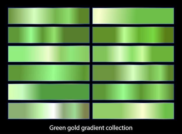 Grüngold-farbverlaufshintergrundsammlung.