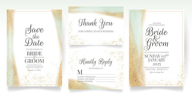 Grünhochzeitseinladungskartenschablone gesetzt mit aquarellblättern goldglitter