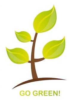 Grünpflanze mit gehen grüner text über weißem hintergrundvektor