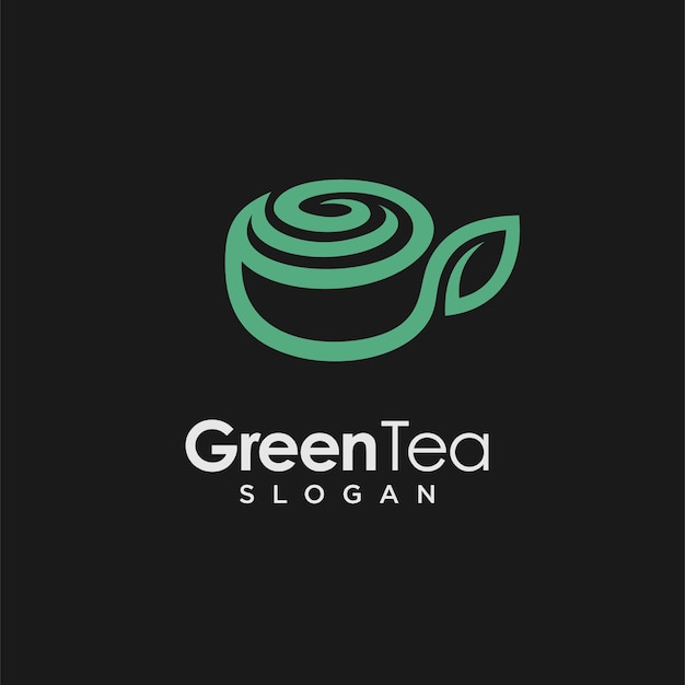 Grüntee-logo mit tassenkonzept