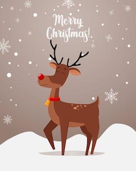 Grüße mit einem niedlichen hirsch hintergrund und inschrift frohe weihnachten