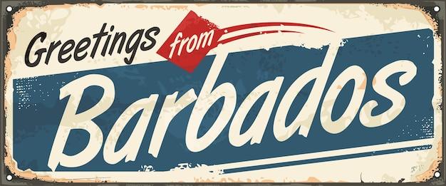 Grüße von barbados retro souvenir schild oder postkarte vorlage