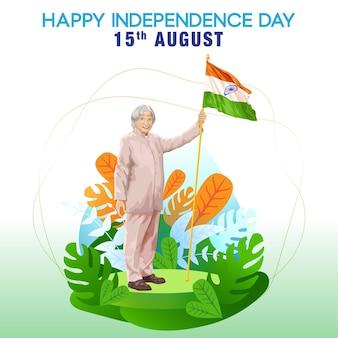Grüße zum indischen unabhängigkeitstag mit einem meister, der indische flagge hält