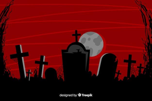 Grunce halloween hintergrund mit friedhof