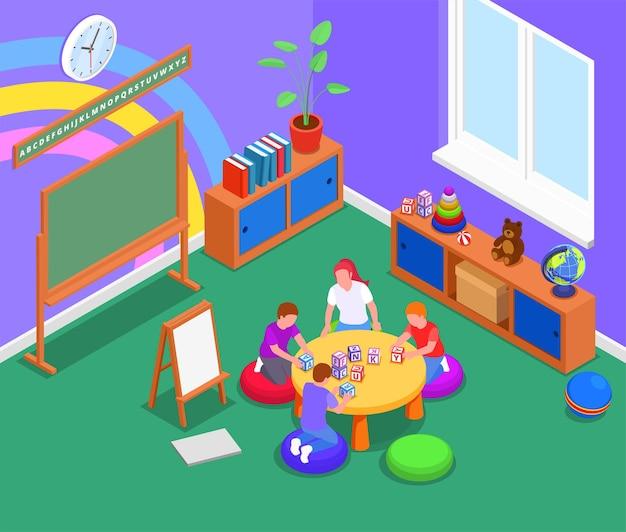 Grundbildungshintergrund mit frau und drei kindern, die englische buchstaben mit blöcken in isometrischer illustration des klassenzimmers studieren