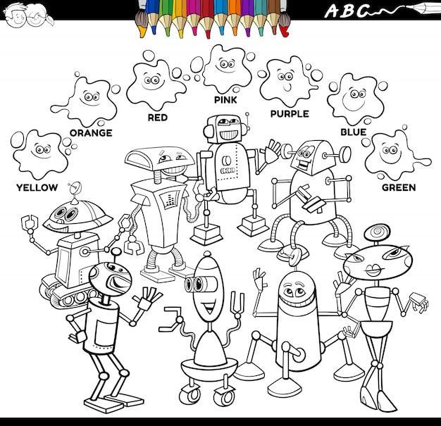 Grundfarben farbbuch mit robotercharakteren
