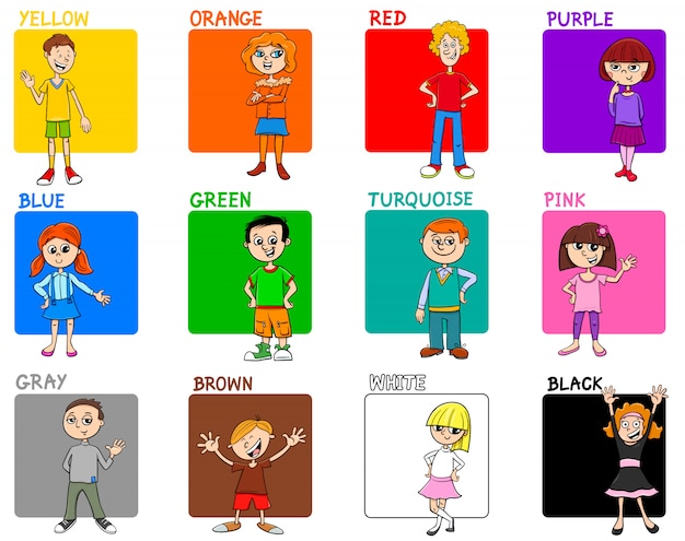 Grundfarben pädagogisches set mit kindern