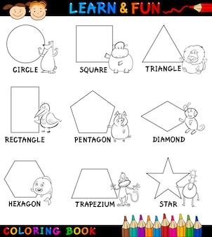 Grundformen mit tieren zum färben