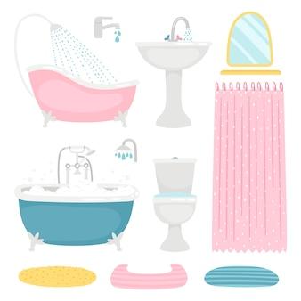 Grundlegende badezimmerelemente gesetzt