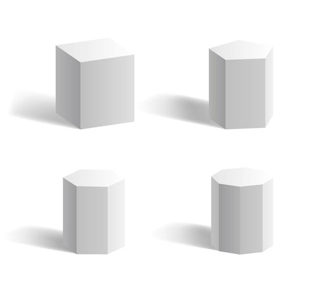 Grundlegende geometrische 3d-formen würfel, quader, sechseck, fünfeck prisma weiß