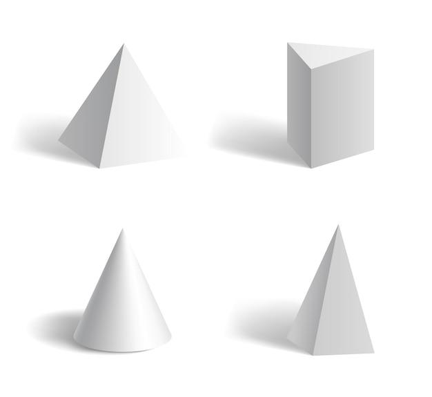 Grundlegende geometrische pyramidenformen 3d dreieckig, fünfeckig, kegelweiß