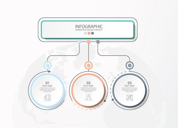 Grundlegende infografik-vorlage mit 3 schritten, prozess oder optionen, prozessdiagramm, wird für prozessdiagramme, präsentationen, workflow-layout, flussdiagramm, infografik verwendet. vektorillustration eps10.