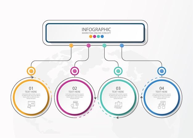 Grundlegende infografik-vorlage mit 4 schritten, prozess oder optionen, prozessdiagramm, wird für prozessdiagramme, präsentationen, workflow-layout, flussdiagramm, infografik verwendet. vektorillustration eps10.