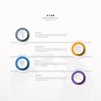 Grundlegende infografik-vorlage mit 4 schritten
