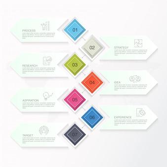 Grundlegende infografiken, 7 optionen, teile oder prozesse.
