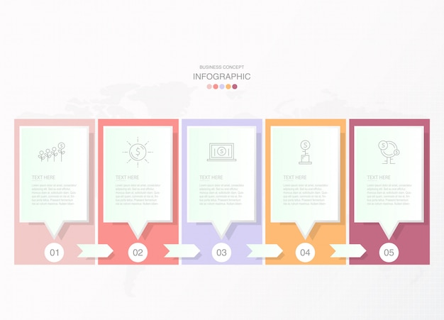 Grundlegende infografiken für das aktuelle geschäftskonzept. abstrakte elemente, 8 optionen.