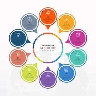 Grundlegende kreis-infografik-vorlage mit 10 schritten, prozess oder optionen, prozessdiagramm, wird für prozessdiagramme, präsentationen, workflow-layout, flussdiagramm, infografik verwendet. vektorillustration eps10.