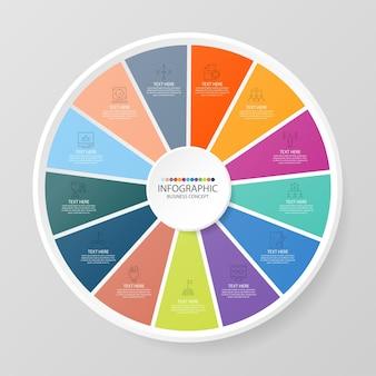 Grundlegende kreis-infografik-vorlage mit 13 schritten, prozess oder optionen, prozessdiagramm, wird für prozessdiagramme, präsentationen, workflow-layout, flussdiagramm, infografik verwendet. vektorillustration eps10.