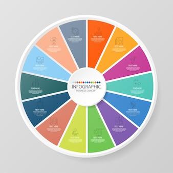 Grundlegende kreis-infografik-vorlage mit 14 schritten, prozess oder optionen, prozessdiagramm, wird für prozessdiagramme, präsentationen, workflow-layout, flussdiagramm, infografik verwendet. vektorillustration eps10.