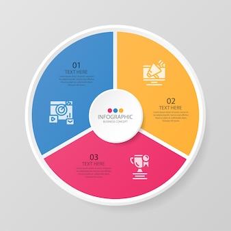 Grundlegende kreis-infografik-vorlage mit 3 schritten, prozess oder optionen, prozessdiagramm, wird für prozessdiagramme, präsentationen, workflow-layout, flussdiagramm, infografik verwendet. vektorillustration eps10.