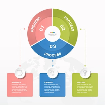 Grundlegende kreis-infografik-vorlage mit 3 schritten, prozessen oder optionen