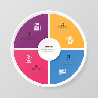 Grundlegende kreis-infografik-vorlage mit 4 schritten, prozess oder optionen, prozessdiagramm, wird für prozessdiagramme, präsentationen, workflow-layout, flussdiagramm, infografik verwendet. vektorillustration eps10.