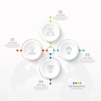 Grundlegende kreis-infografik-vorlage mit 4 schritten, prozess oder optionen