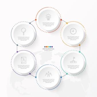 Grundlegende kreis-infografik-vorlage mit 6 schritten, prozess oder optionen, prozessdiagramm.