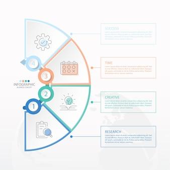 Grundlegende kreis-infografik-vorlage mit 6 schritten