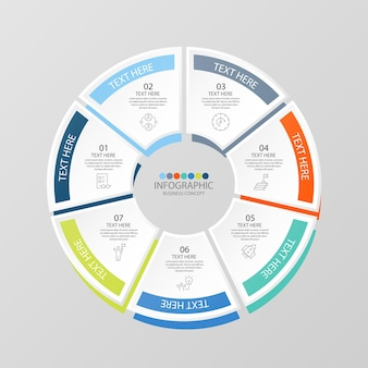 Grundlegende kreis-infografik-vorlage mit 7 schritten, prozess oder optionen, prozessdiagramm, wird für prozessdiagramme, präsentationen, workflow-layout, flussdiagramm, infografik verwendet. vektorillustration eps10.