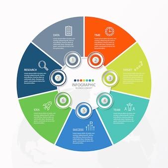 Grundlegende kreis-infografik-vorlage mit 7 schritten, prozess oder optionen, prozessdiagramm