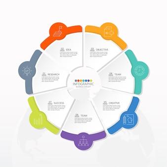 Grundlegende kreis-infografik-vorlage mit 7 schritten