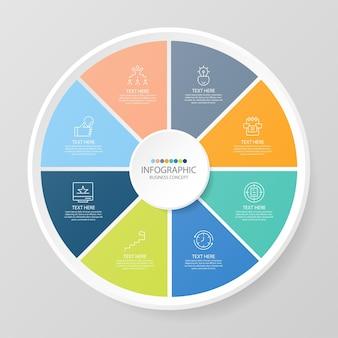 Grundlegende kreis-infografik-vorlage mit 8 schritten, prozess oder optionen, prozessdiagramm, wird für prozessdiagramme, präsentationen, workflow-layout, flussdiagramm, infografik verwendet. vektorillustration eps10.