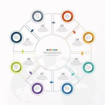 Grundlegende kreis-infografik-vorlage mit 8 schritten, prozess oder optionen, prozessdiagramm,