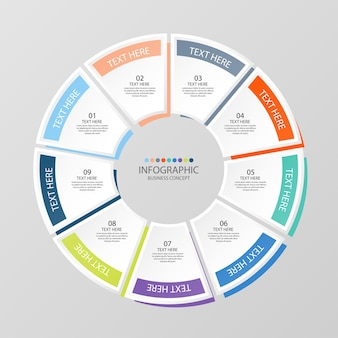 Grundlegende kreis-infografik-vorlage mit 9 schritten, prozess oder optionen, prozessdiagramm, wird für prozessdiagramme, präsentationen, workflow-layout, flussdiagramm, infografik verwendet. vektorillustration eps10.