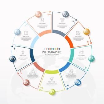 Grundlegende kreis-infografik-vorlage mit 9 schritten, prozess oder optionen