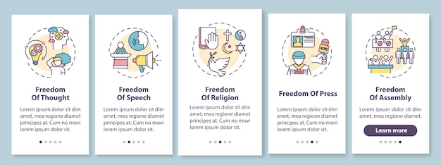 Grundlegende menschliche freiheiten beim einbinden des seitenbildschirms der mobilen app mit konzepten. grundlegende menschenrechte. exemplarische vorgehensweise grafische anweisungen. ui-vorlage mit rgb-farbabbildungen