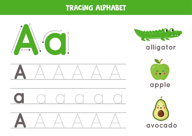 Grundlegende schreibpraxis für kindergartenkinder. arbeitsblatt zur alphabetverfolgung mit allen az-buchstaben. verfolgung eines kleinbuchstaben a in großbuchstaben mit niedlichem cartoon-alligator, apfel, avocado. lernspiel.