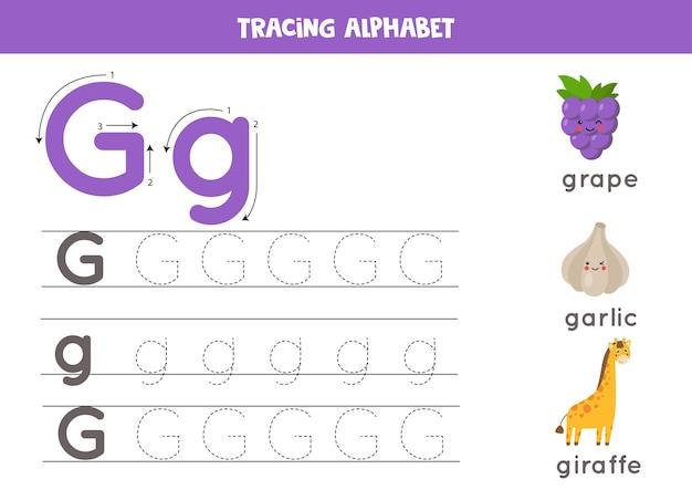 Grundlegende schreibpraxis für kindergartenkinder. arbeitsblatt zur alphabetverfolgung mit allen az-buchstaben. verfolgung von groß- und kleinbuchstaben g mit niedlichen cartoon-trauben, giraffen, knoblauch. lernspiel.