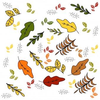 Grundlegendes rgb-paket hübsche herbstblätter und -blumen