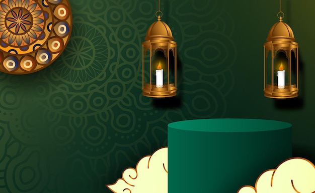 Grundlegendes zylinderpodest für ramadan kareem mubarak mit grüner farbe