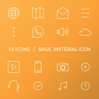 Grundmaterialsymbol. umriss-icon-set.