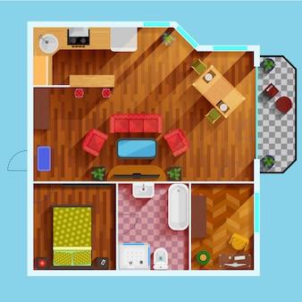 Grundriss eines apartments mit einem schlafzimmer