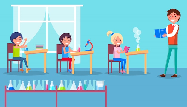 Grundschulklasse mit lehrer und schülern