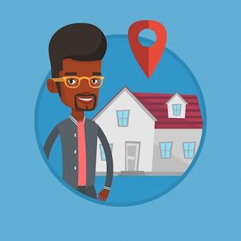Grundstücksmakler auf hintergrund des hauses mit kartenzeiger.
