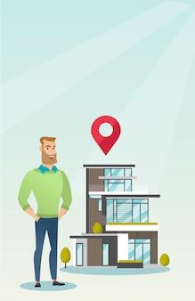 Grundstücksmakler im haus im freien mit kartenzeiger.