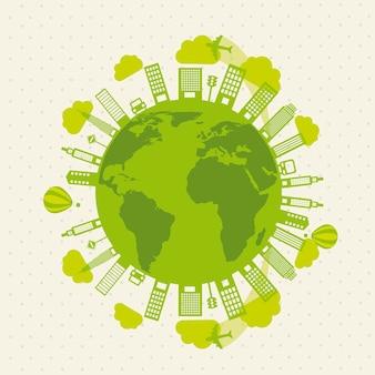 Grüne buildigs und Transportökologievektorillustration